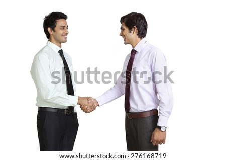 Business executives shaking hands - stock photo