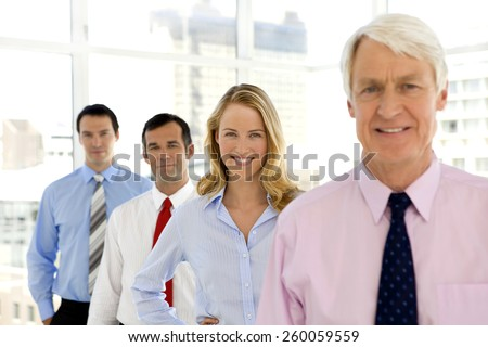 Business executives standing in a row - stock photo