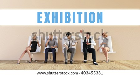 Business Exhibition Being Discussed in a Group Meeting 3D Illustration Render - stock photo