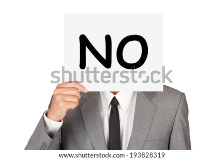 Business expression say no idea on businessman hand isolated on white  - stock photo