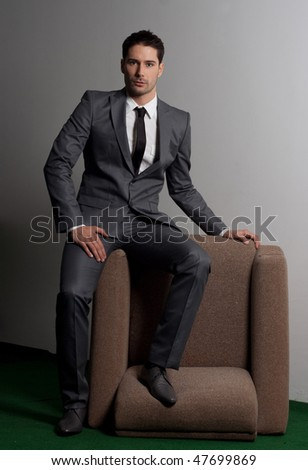 business fashion concept.Suit and beauty concept - stock photo