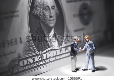 Business figure with a dollar - stock photo