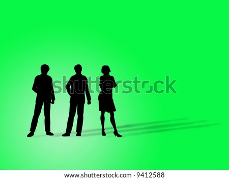 Business figures silhouette on a colorful background