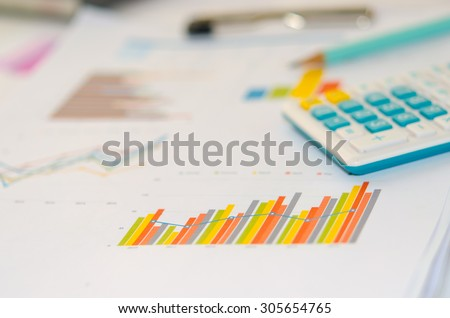 Business finance, accounting, statistics and analytic research concept - stock photo