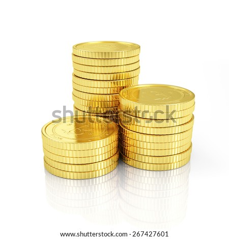 Business, Finance and Internet Online Payment System Concept. Stack of Golden Bitcoins Cryptocurrency isolated on white reflective background - stock photo