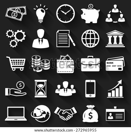 Business, finance and marketing. White flat icons on a black background. Set of 25 concept symbols with long shadows. Collection of silhouette elements for your design. Raster illustration.  - stock photo