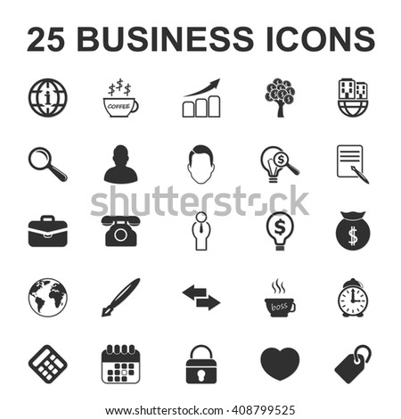 business, finance 25 black simple icon set for web design
