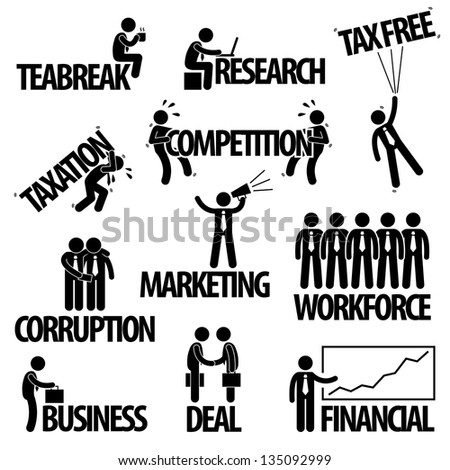 Business Finance Businessman Entrepreneur Employee Worker  Team Text Word Stick Figure Pictogram Icon - stock photo