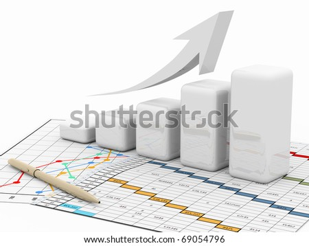 business finance chart, diagram, bar - stock photo