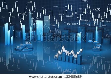 business finance chart, diagram, bar, graphic - stock photo