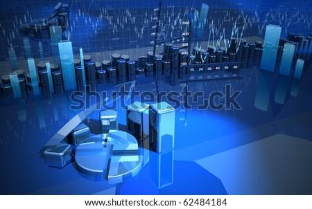 business finance chart diagram, bar, graphic - stock photo