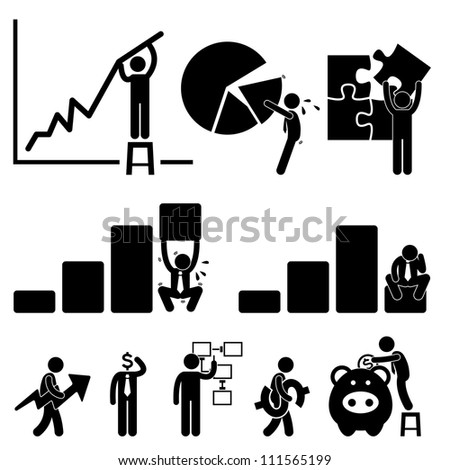 Business Finance Chart Employee Worker Businessman Solution Icon Symbol Sign Pictogram - stock photo