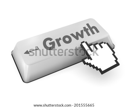 Business finance concept: computer keyboard with Energy Saving Lamp icon and word Growth