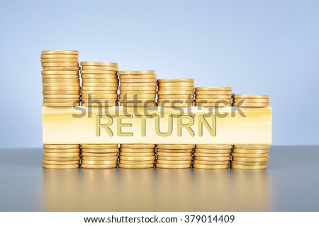 Business finance concept; golden coin graph and piece of wood with carved word return.