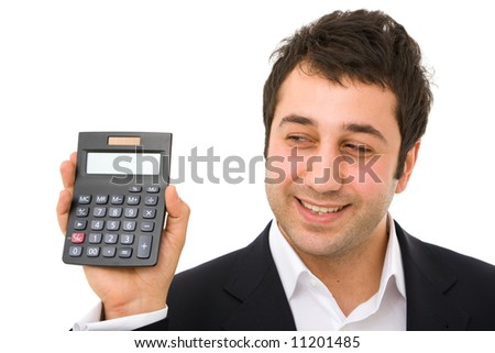 business finance concept with calculator and happy businessman
