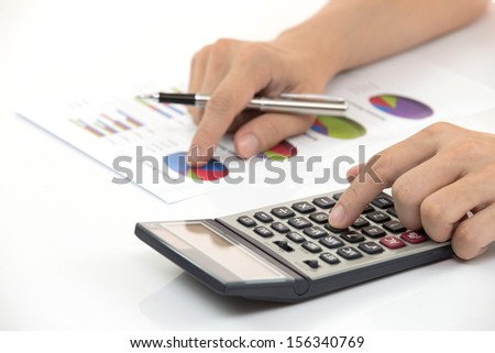 Business finance man calculating budget numbers - stock photo