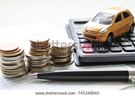 Business Finance Saving Money Or Car Loan Concept Miniature Car Model Coins