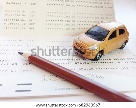 Business Finance Savings Banking Or Car Loan Concept Miniature Car Model