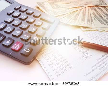 Business, Finance, Savings, Banking Or Car Loan Concept : Pencil, Calculator ,