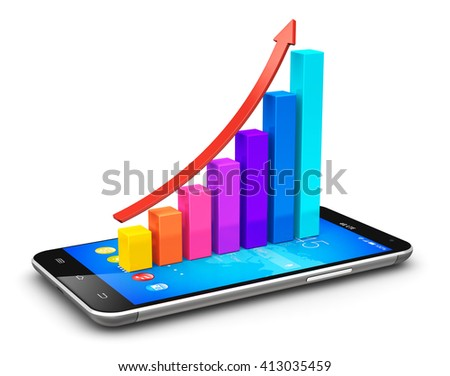 Business finance statistics and corporate analytics development internet web concept: 3D render illustration of smartphone or mobile phone with color growth bar graph isolated on white background - stock photo