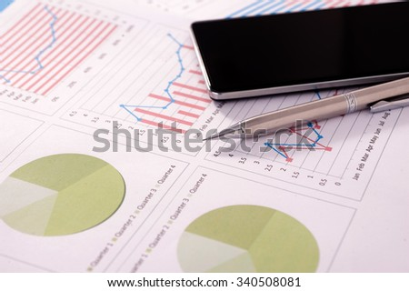 Business finance, tax, accounting, statistics and analytic research concept - stock photo