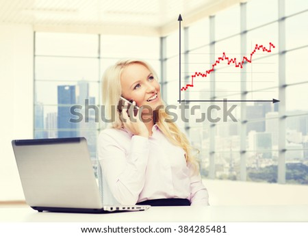 business, finances, communication and technology concept - smiling businesswoman with laptop computer calling on smartphone over office room with city view window and forex chart background - stock photo