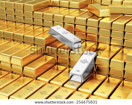 Business, Financial, Bank Gold Reserves Concept. Stack of Golden and Silver Bars in the Bank Vault - stock photo