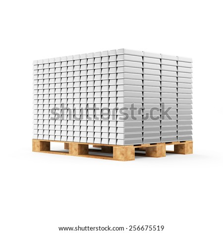 Business, Financial, Bank Silver Reserves Concept. Stack of Silver Bars on a Wooden Pallet isolated on white background - stock photo