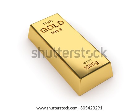 Business financial banking concept: Photo of a 1kg gold bar isolated on white background