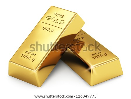 Business financial banking concept: set of gold ingots isolated on white background - stock photo