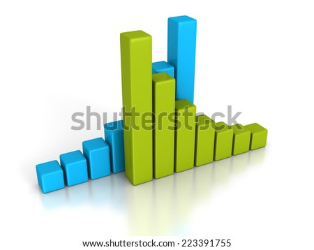 business financial bar chart graph on white background. 3d render illustration