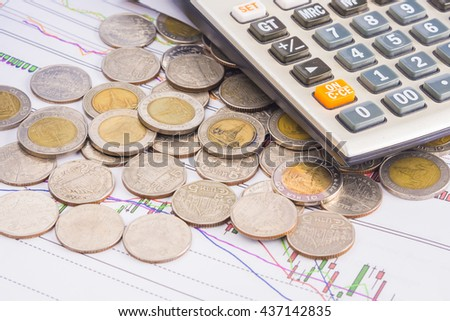 Business Financial  concept  calculator chart and Coins,