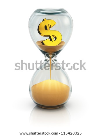 "Business financial concept ""Time is money"": vintage hourglass with golden dollar symbol inside and flowing sand isolated on white background with reflection effect - stock photo"