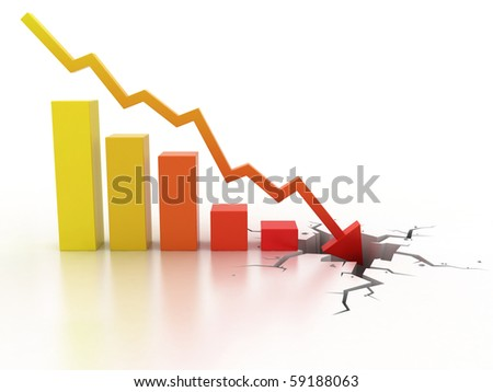 Business financial crisis concept 3d illustration - stock photo