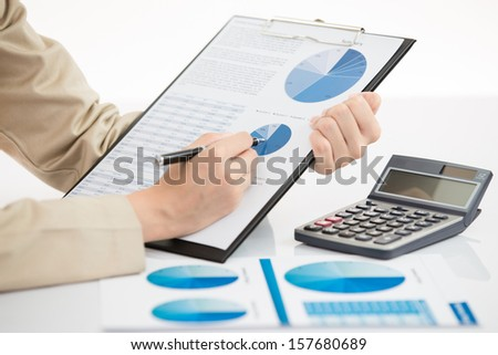 Business financial data analyzing. photo of a businesswoman's - stock photo