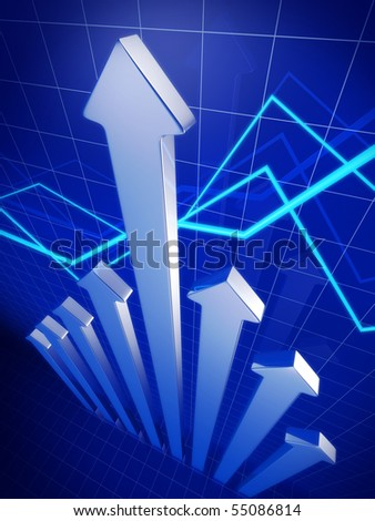 Business financial growth concept arrow pointing up 3d illustration - stock photo