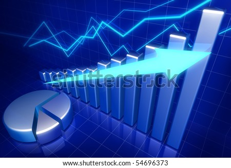 Business financial growth concept 3d illustration - stock photo