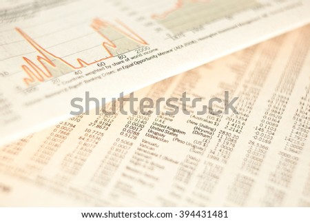 business financial newspaper forecast detail background - stock photo