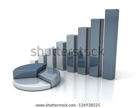 business financial pie and bar charts - stock photo