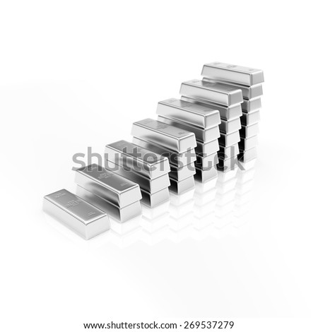 Business, Financial, Success or Wealth and Riches Concept. Business Graph made from Silver Bars isolated on white reflective background - stock photo