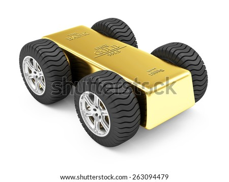 Business, Financial, Transportation of Bank Gold Reserves Concept. Golden Bar on Wheels isolated on white background - stock photo