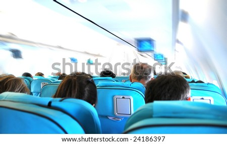 Business flight - airplane cabin - speed effect