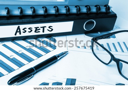 business folder with label assets - stock photo