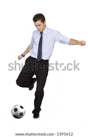 business footballer 1 over white