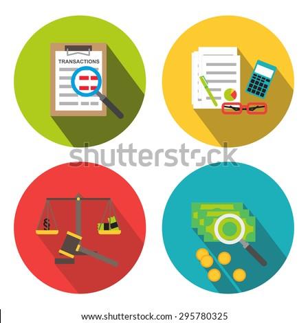 Business forensics and analytics, fraud examination icons isolated - stock photo