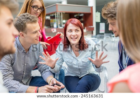 Business friends discussing brainstorming and ideas at meeting inside beautiful modern building place - stock photo