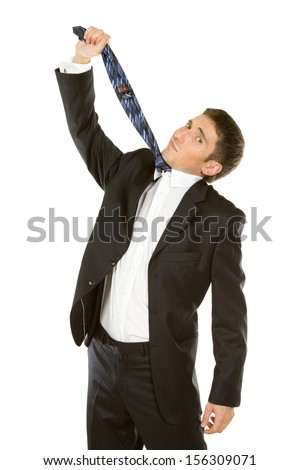 Business Frustration - Mature man pulling necktie to choke himself on white background