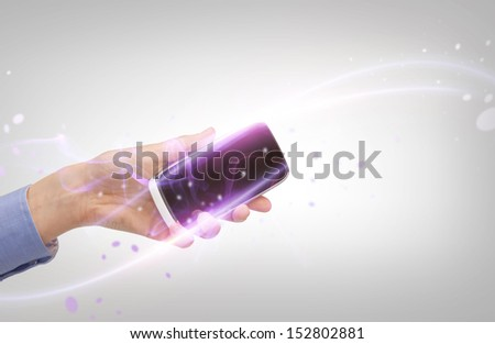 business, future technology and internet - hand with smartphone - stock photo
