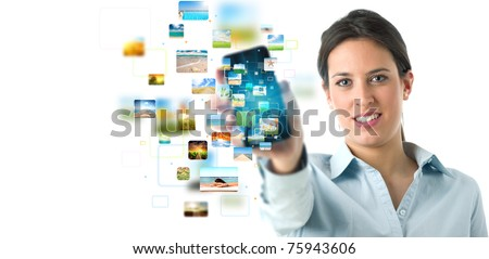 Business girl banner with streaming mobile phone - stock photo