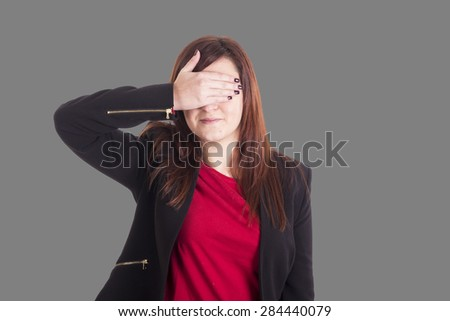 Business girl hidden her eyes with hand - stock photo